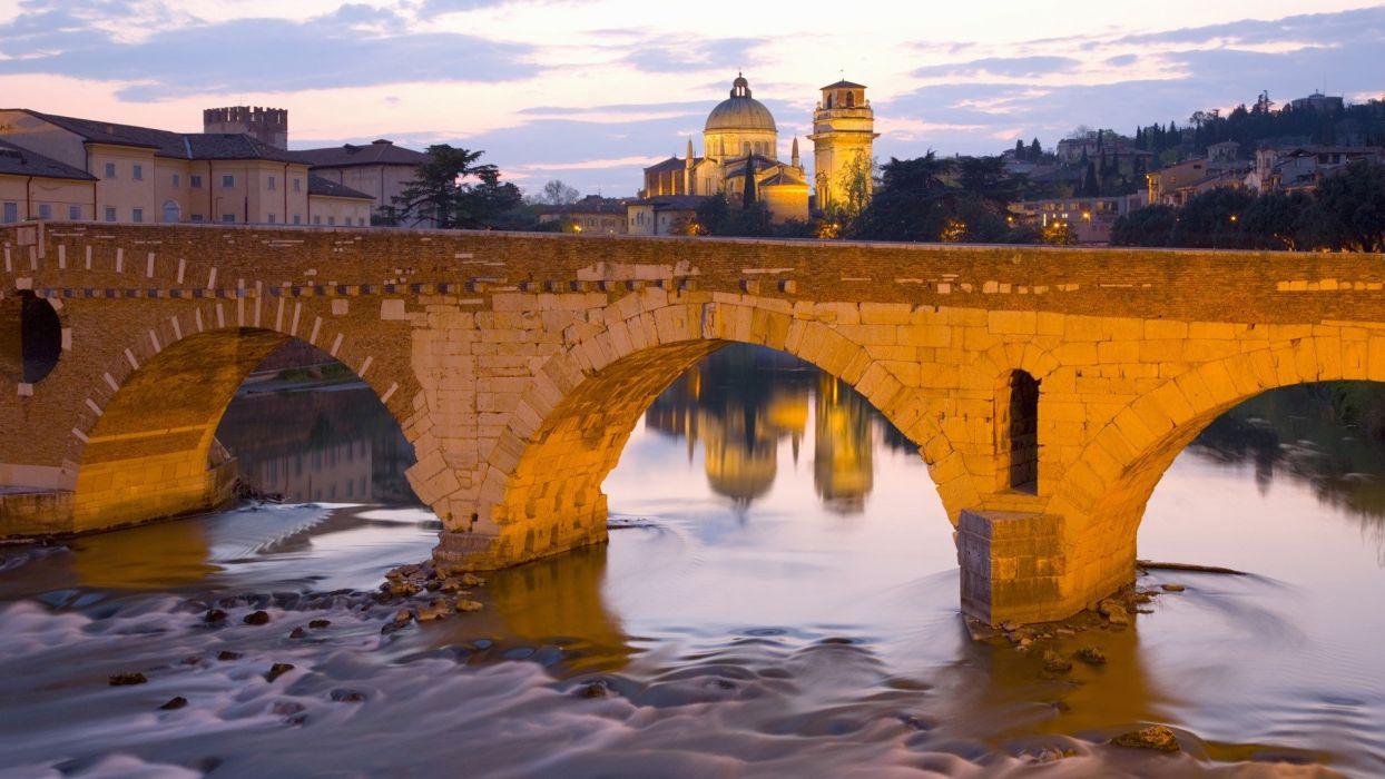 bridges churches Italy The River Verona Veneto Ponte Pietra wallpaper