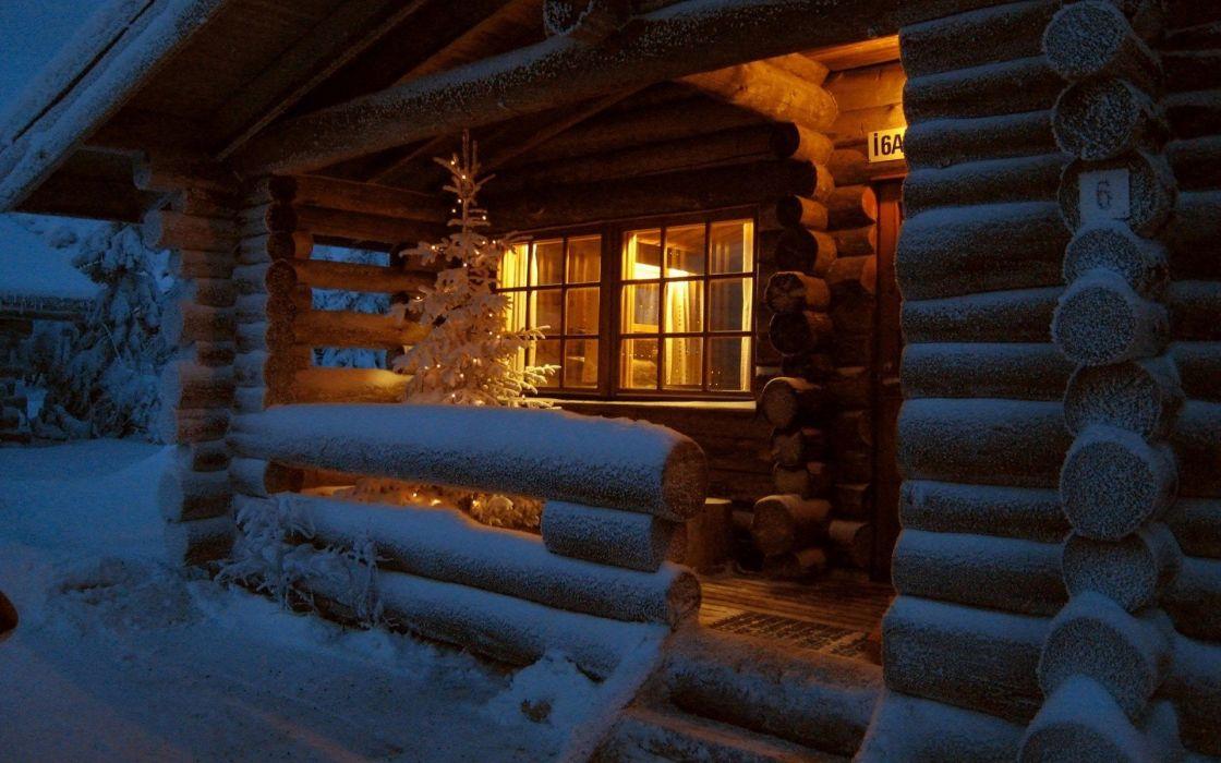 winter houses Christmas Finland macro wallpaper