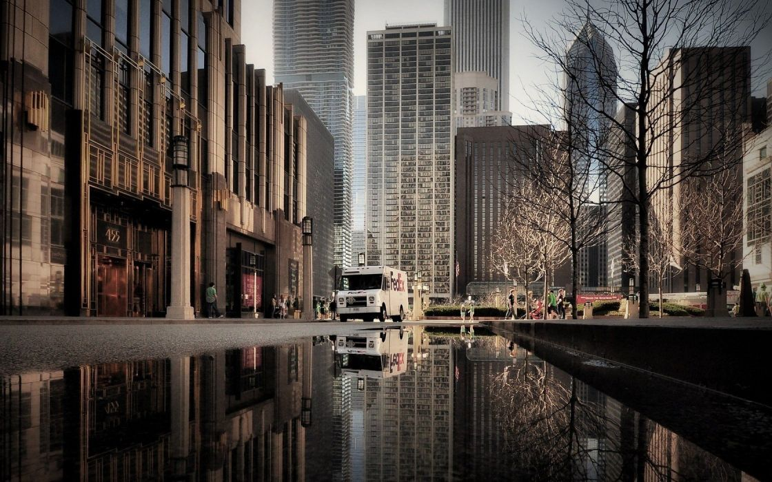 Chicago reflections Illinois wallpaper