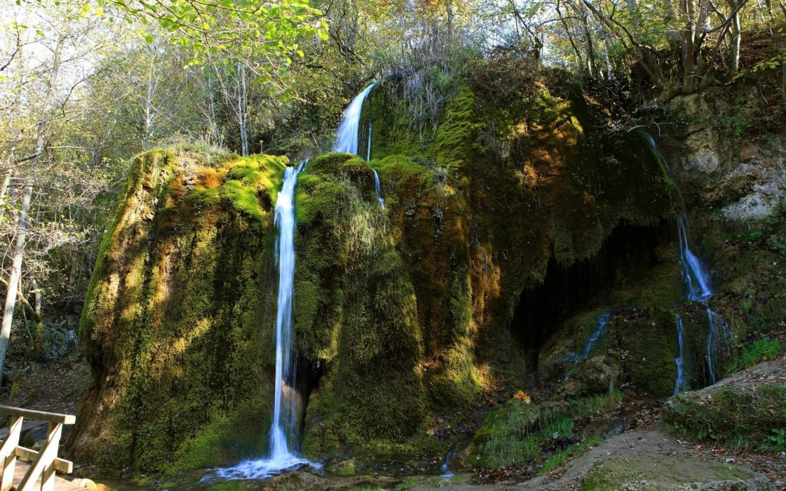 landscapes nature wood Germany rocks falls moss wallpaper