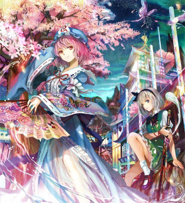 video games Touhou dress multicolor Konpaku Youmu Saigyouji Yuyuko  Fuji Choko Japanese clothes fans wallpaper