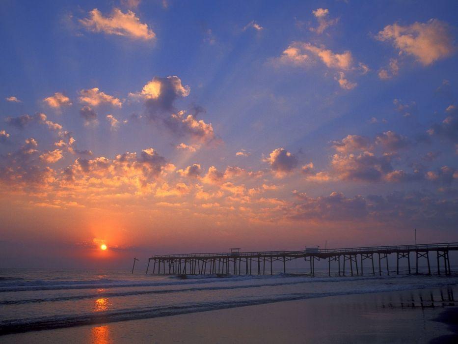 sunset piers beaches wallpaper