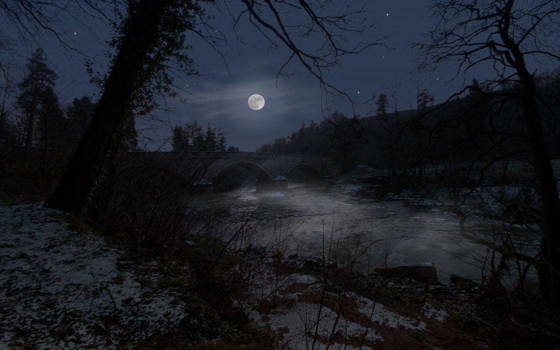 night Moon bridges rivers wallpaper