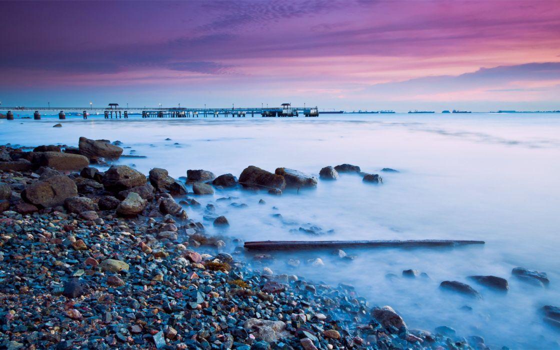 water sunset nature coast rocks Malaysia sea wallpaper