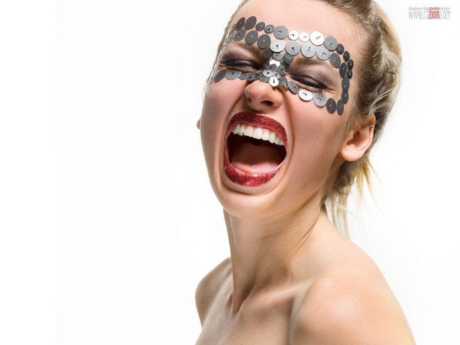 blondes women models screaming faces portraits wallpaper