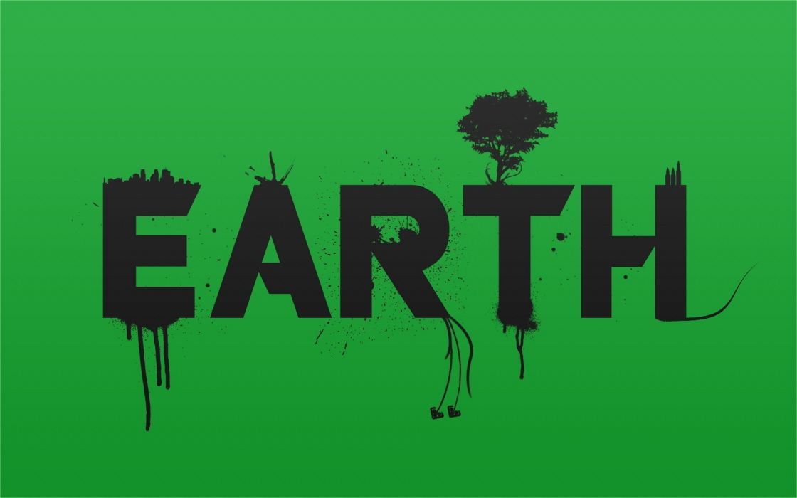 text Earth typography simple background green background wallpaper