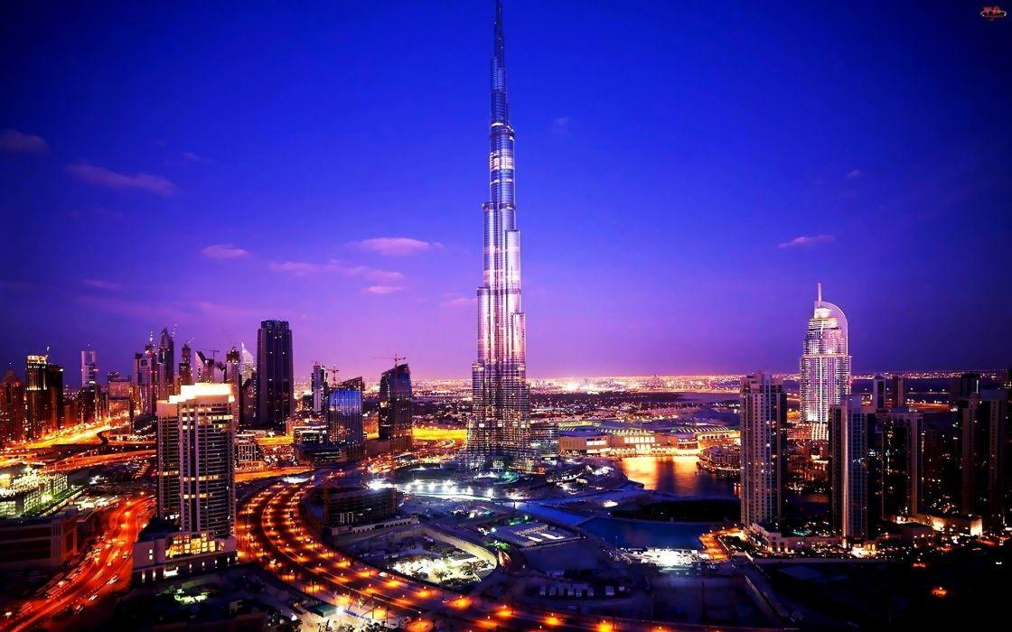 sunset blue clouds cityscapes night lights Dubai scenic skyscapes Burj Khalifa wallpaper