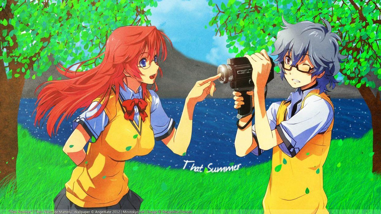water trees blue eyes redheads school uniforms tie glasses cameras black eyes anime boys anime girls Takatsuki Ichika Kirishima Kaito black hair Ano Natsu de Matteru wallpaper