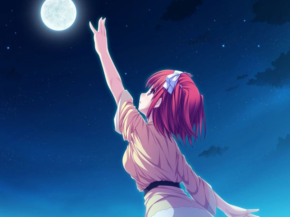 red night stars Moon ribbons short hair game CG purple eyes Suzukaze no Melt Tsubaki Nazuna anime girls wallpaper