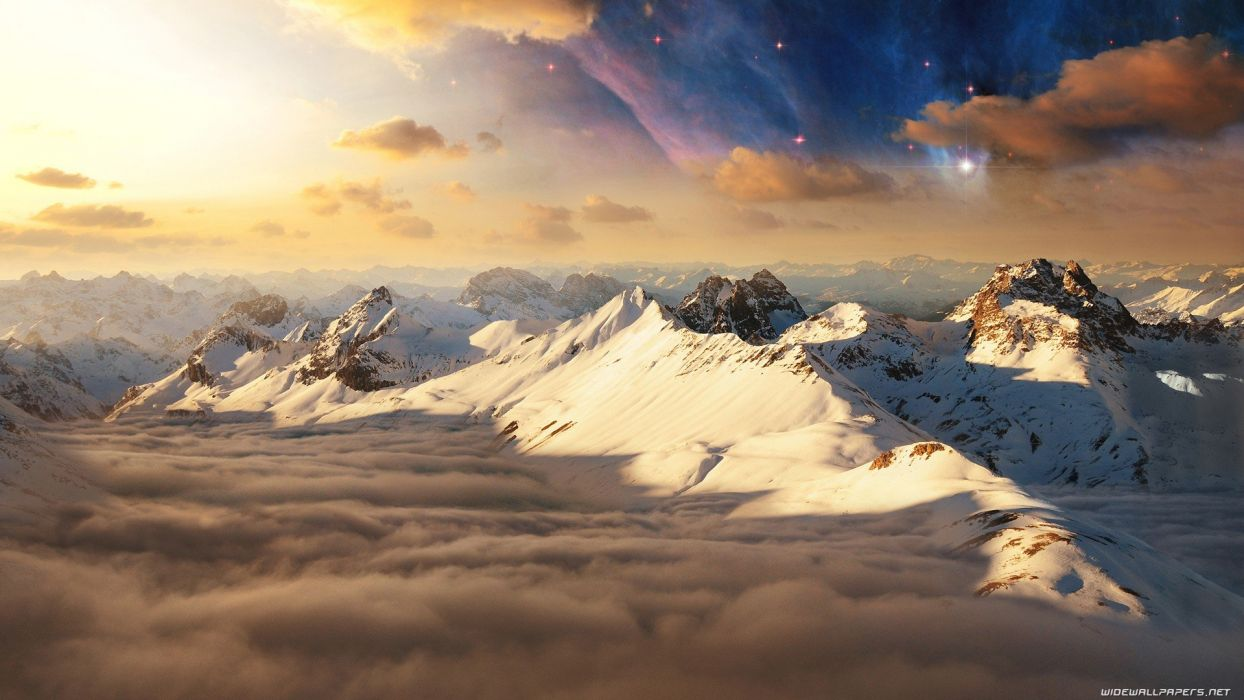 mountains clouds landscapes nature stars wallpaper