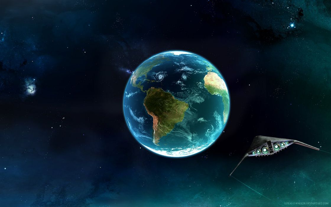 outer space planets Earth spaceships wallpaper
