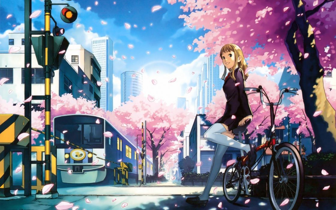blondes stockings bicycles school uniforms skirts smiling motorbikes anime girls railroad crossing wallpaper