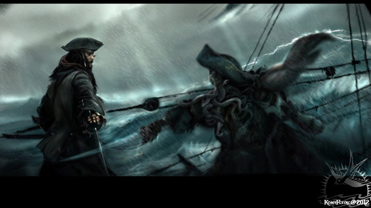 ocean fighting pirates weapons Pirates of the Caribbean battles Captain Jack Sparrow hats swords fan art Davy Jones black pearl wallpaper