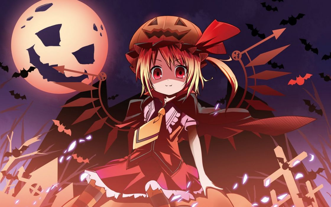 blondes video games Touhou wings Halloween Moon vampires red eyes short hair Flandre Scarlet anime girls pumpkins wallpaper