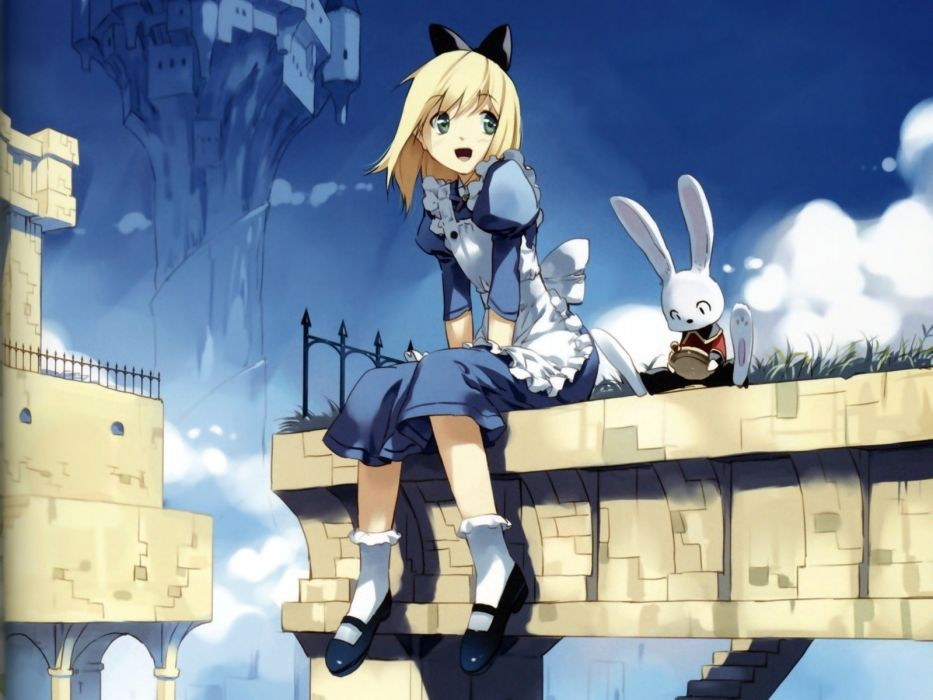 blondes bunnies clouds castles maids Alice in Wonderland grass stones ribbons stairways green eyes gate animation anime maid costumes anime girls arches wallpaper