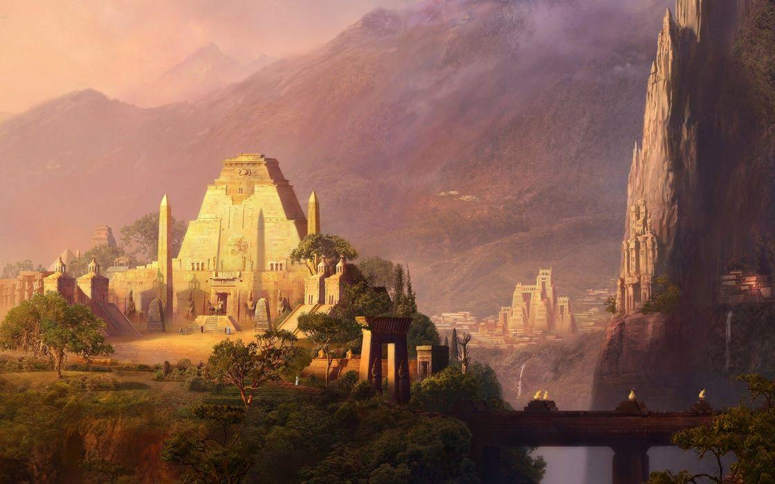 landscapes cityscapes architecture buildings aztec artwork temples wallpaper