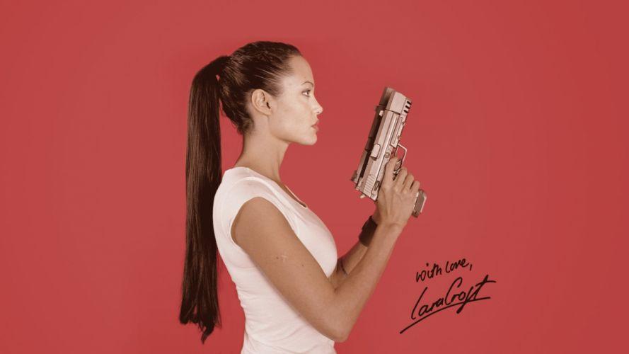 Angelina Jolie Brunette Handgun Lara Croft Tomb Raider Cosplay wallpaper