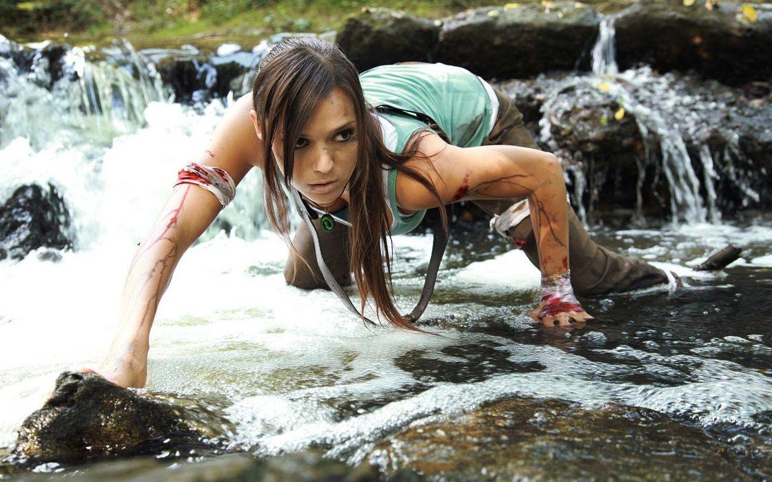 Brunette Cosplay Tomb Raider Lara Croft Blood wallpaper