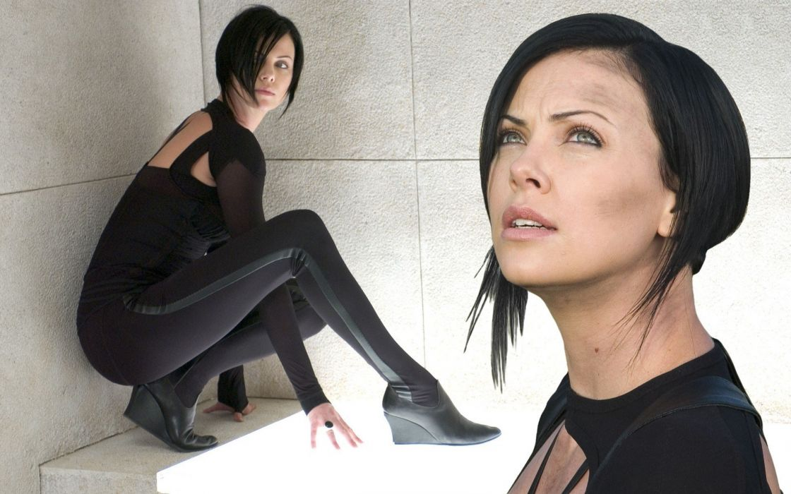 Charlize Theron Face Aeon Flux Cosplay Brunette wallpaper