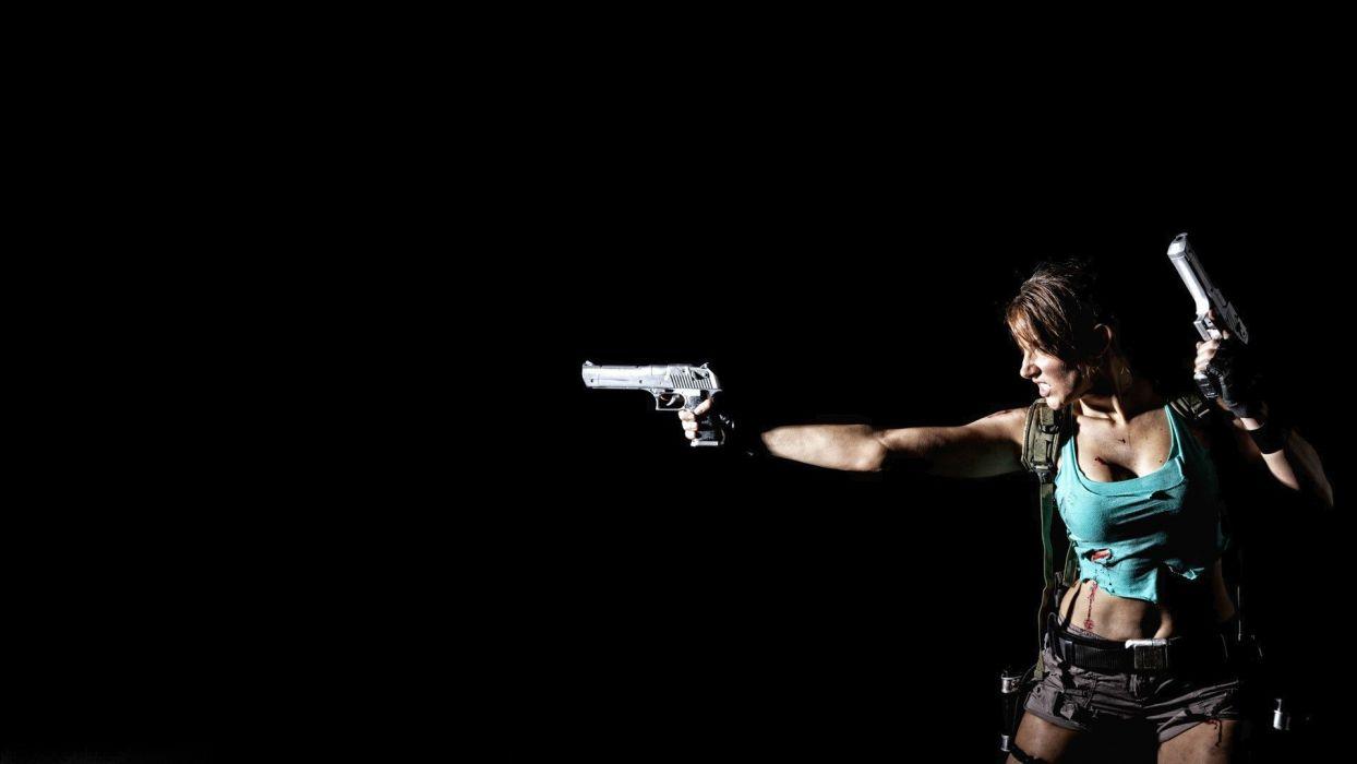 Cosplay Lara Croft Black Handguns Brunette tomb raider weapon pistol gun sexy babe wallpaper