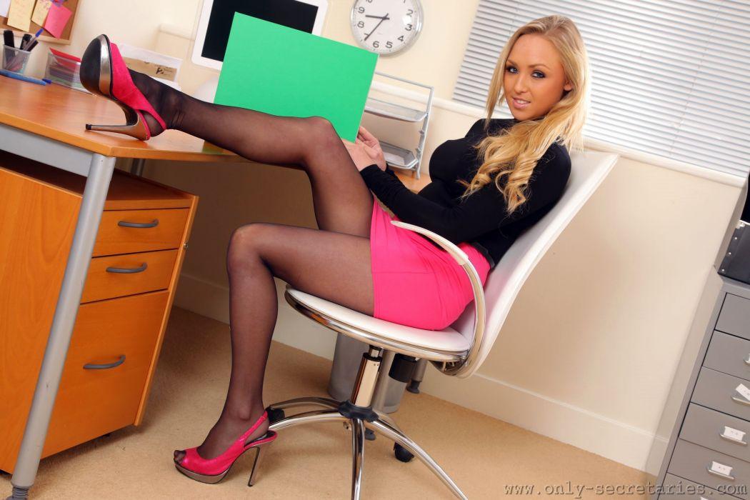 Danni Morgan Secretaries Blonde girl Sitting Legs Pantyhose wallpaper