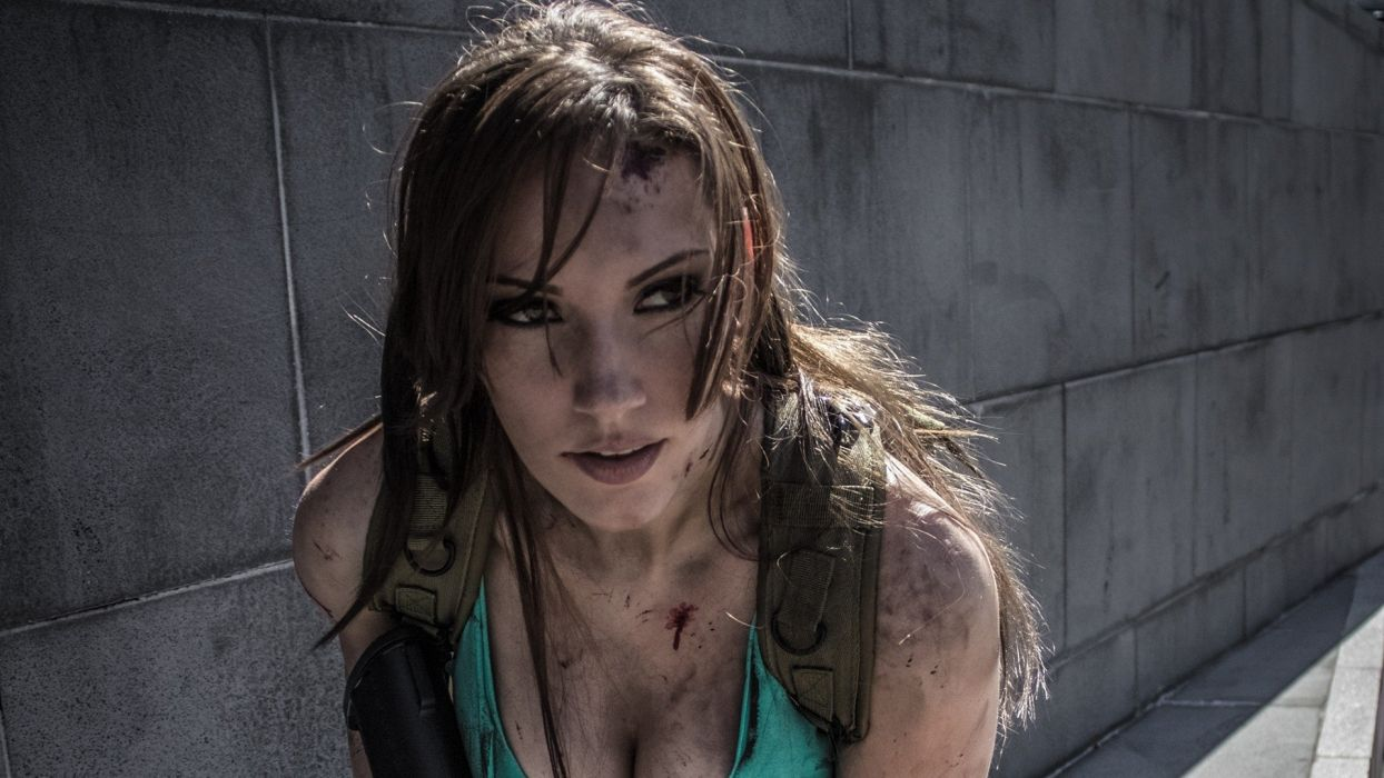 Lara Croft Cosplay Brunette wallpaper