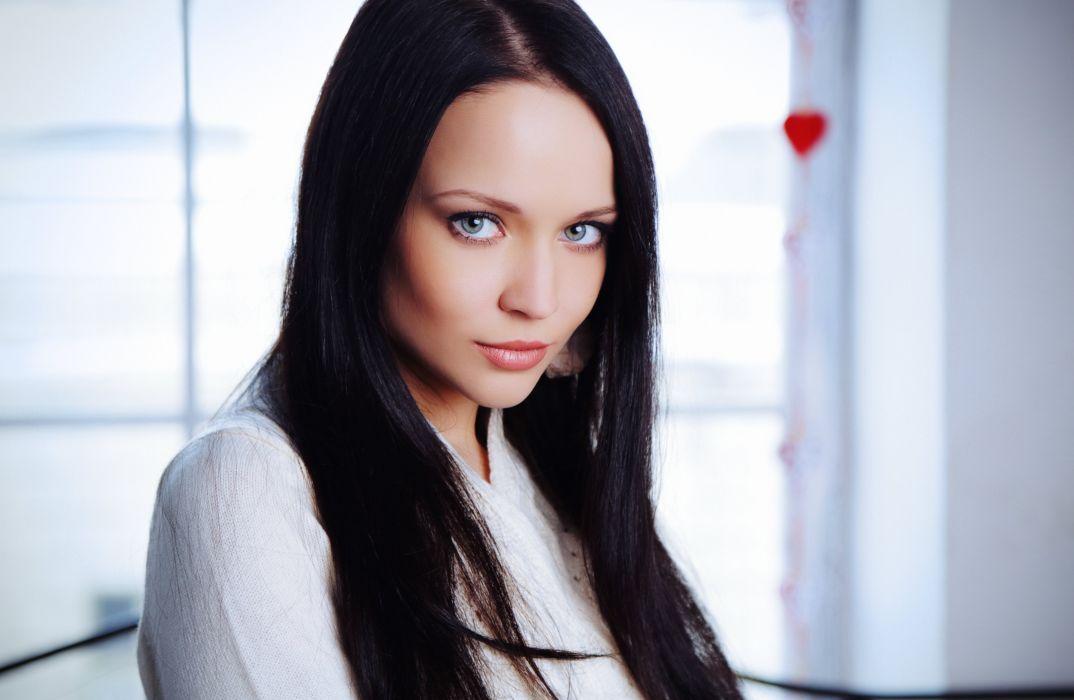 Marica Girl Brunette Face Lips Eyes Look Model wallpaper