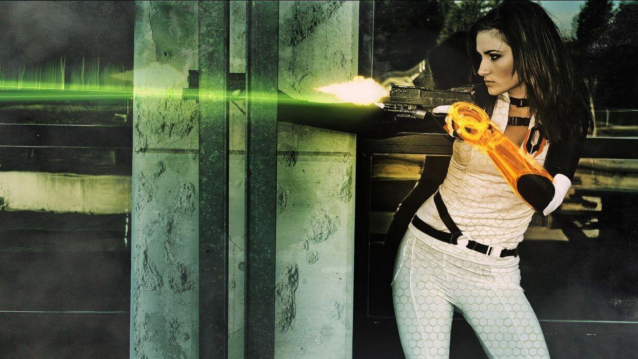 Mass Effect Brunette Cosplay     d wallpaper