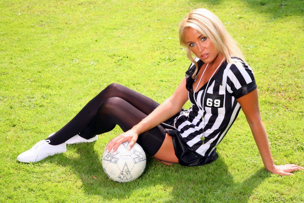 Rosie Whiteman Grass Ball Blonde girl Legs Stockings Sitting Girls wallpaper