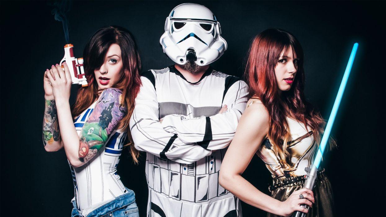 Star Wars Cosplay Lightsaber Brunette Tattoos Stormtrooper wallpaper