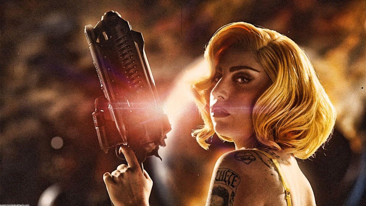 MACHETE KILLS action comedy crime sexy babe Lady GAGA weapon gun pistol tattoo  g wallpaper