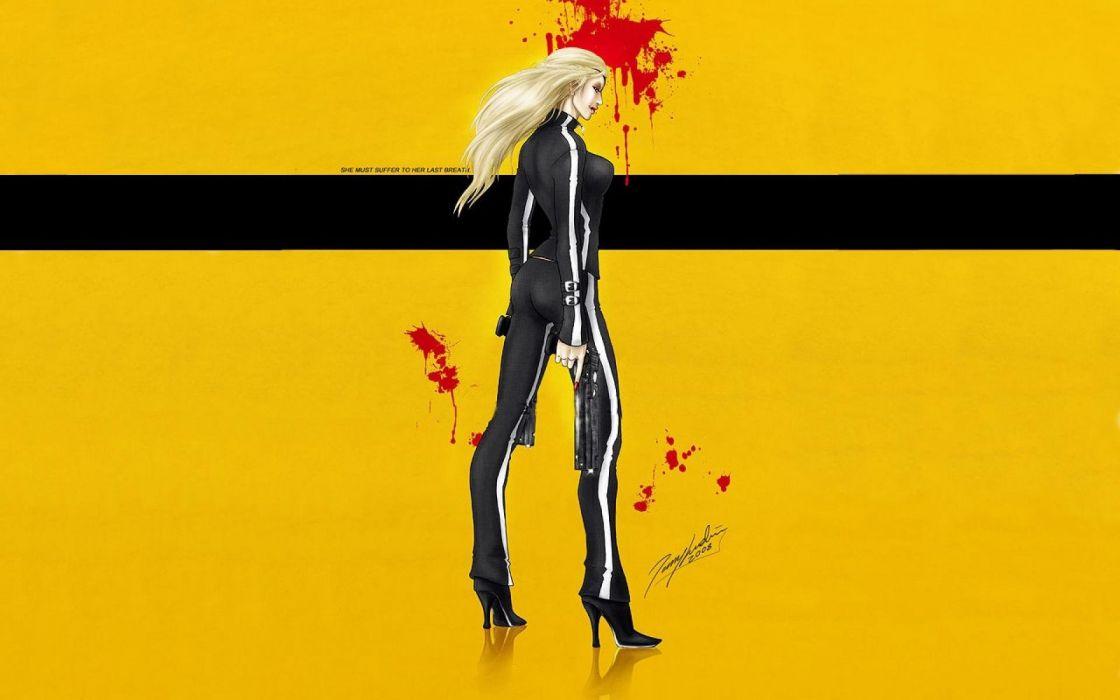 KILL BILL action crime martial arts sexy babe warrior weapon gun pistol dark blood poster   f wallpaper