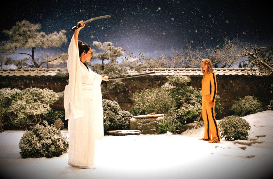 KILL BILL action crime martial arts warrior weapon katana sword uma blonde asian winter snow battle  fd wallpaper