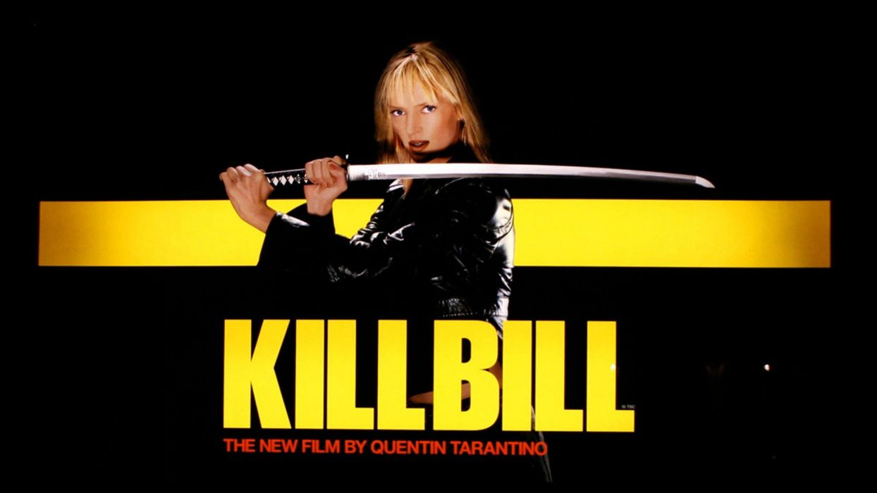 KILL BILL action crime martial arts warrior weapon katana sword uma blonde sexy babe poster  f wallpaper