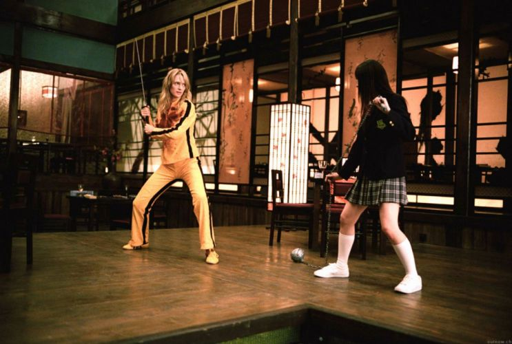 KILL BILL action crime martial arts warrior weapon katana sword uma blonde sexy babe battle fd wallpaper