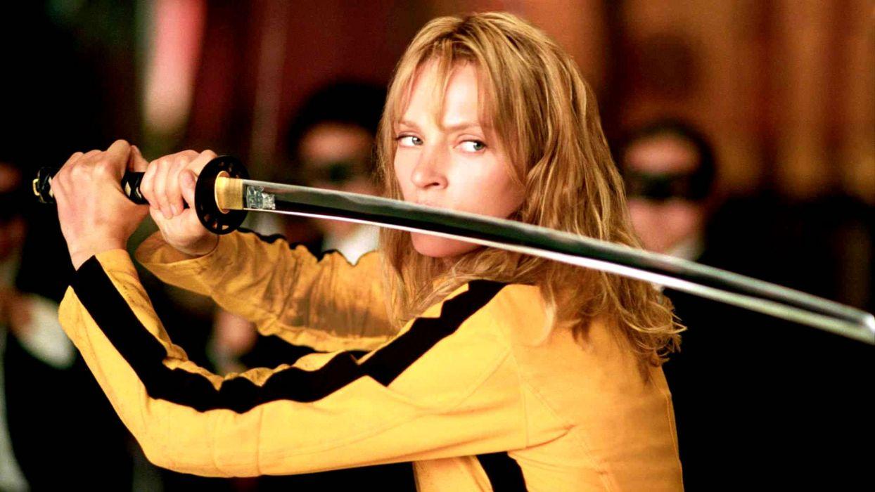 KILL BILL action crime martial arts warrior weapon katana sword uma blonde sexy babe  gd wallpaper
