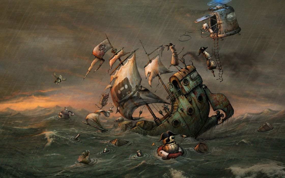 video games pirates Machinarium artwork wallpaper