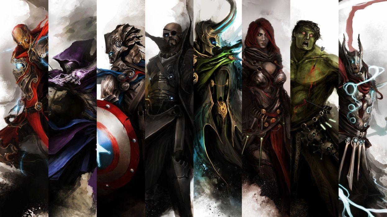Iron Man Thor Captain America Gothic Black Widow The Avengers Hawkeye Nick Fury Loki theDurrrrian (deviant artist) Hulk wallpaper