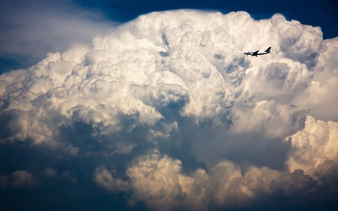 clouds aircraft cumulonimbus Airbus A320 wallpaper