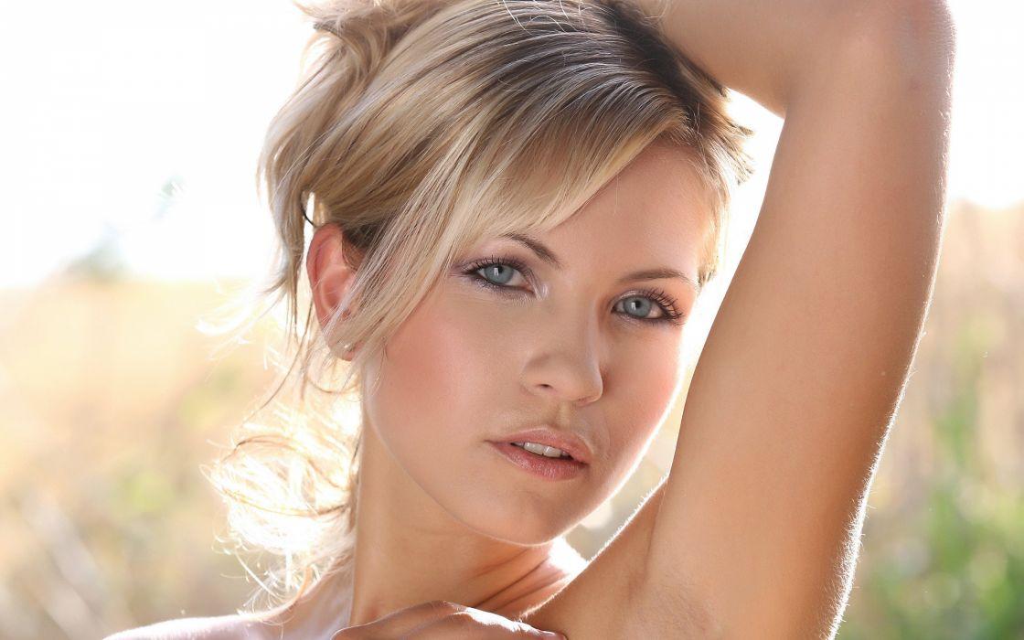 blondes women blue eyes Jenni Gregg wallpaper