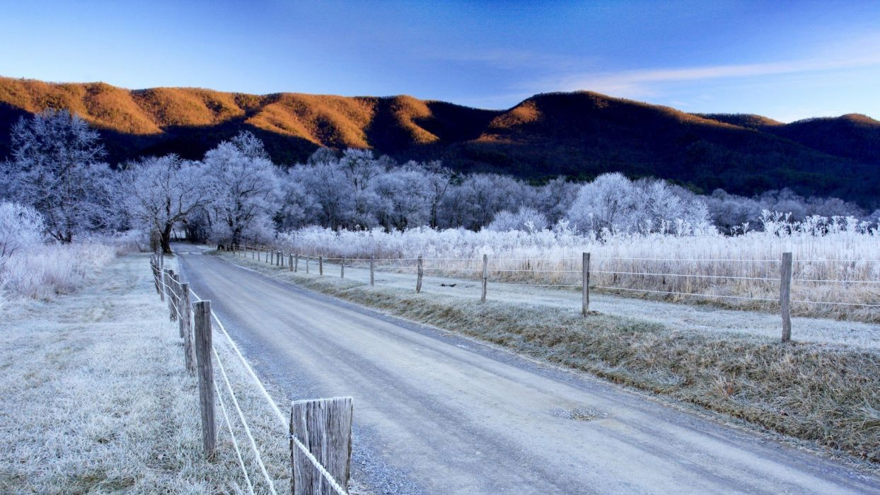 mountains winter roads Tennessee sparks morning National Park wallpaper