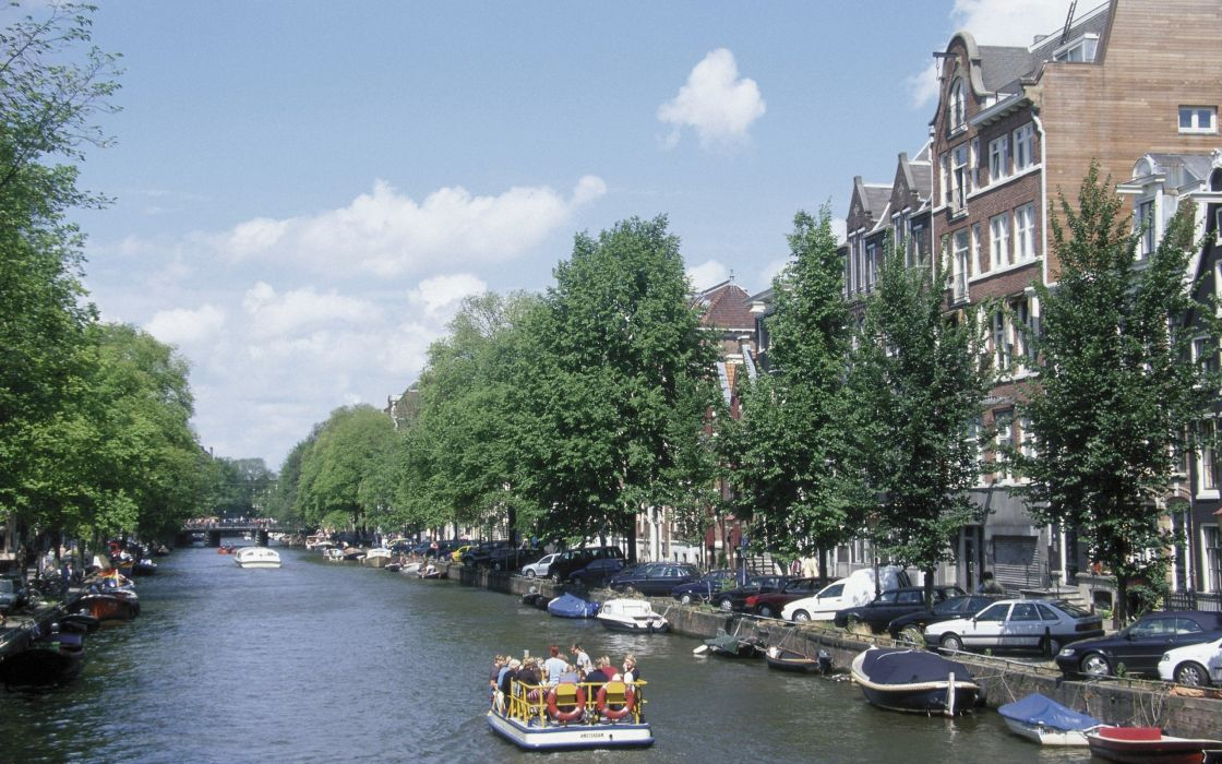 cityscapes architecture Europe boats Amsterdam rivers The Netherlands canal wallpaper