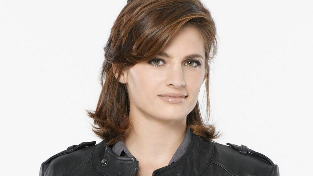 brunettes women Stana Katic white background Castle TV Series wallpaper