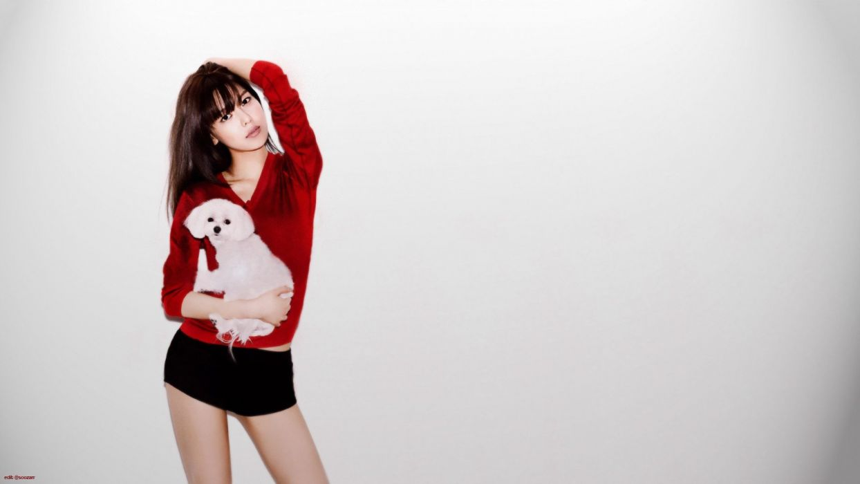 brunettes women dogs Girls Generation SNSD celebrity Asians Korean singers Choi Sooyoung white background bangs pomeranian wallpaper