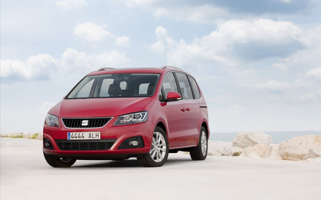 red cars vehicles Seat Seat Alhambra van (vehicle) front angle view wallpaper