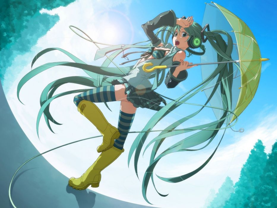 headphones boots Vocaloid Hatsune Miku cleavage long hair twintails underwear aqua eyes aqua hair anime girls detached sleeves wallpaper