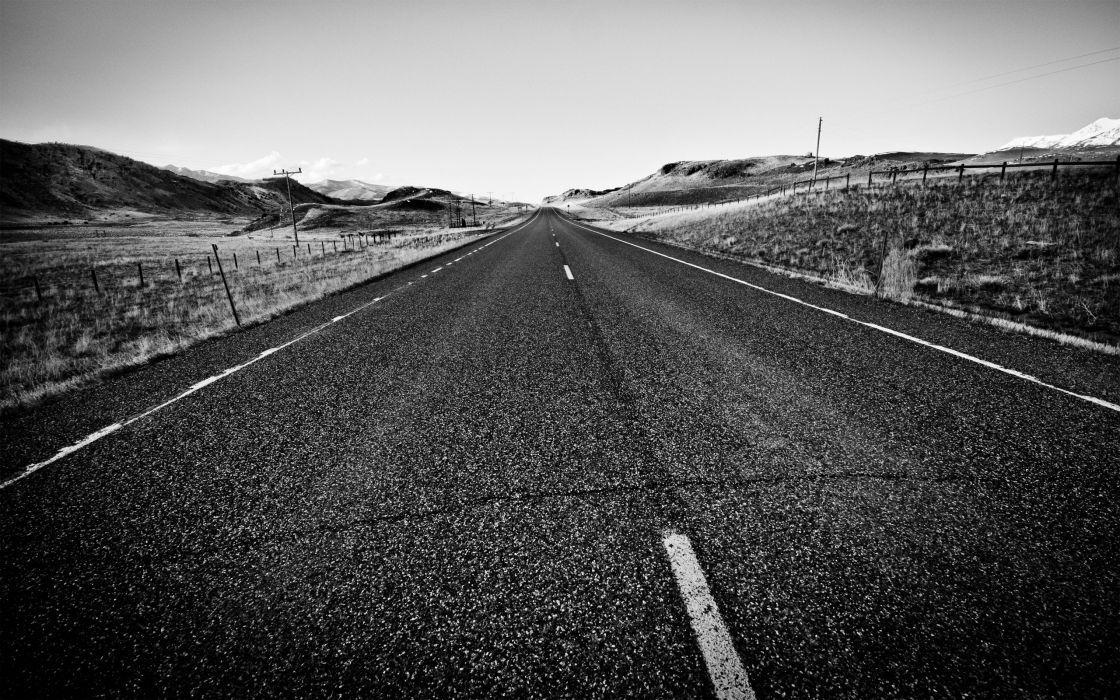 minimalistic horizon fields hills USA endless grayscale roads HDR photography Montana wallpaper
