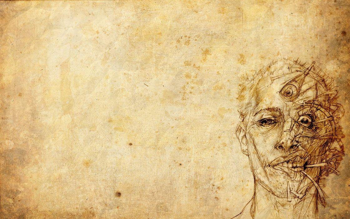 men drawings mind third eye faces wallpaper