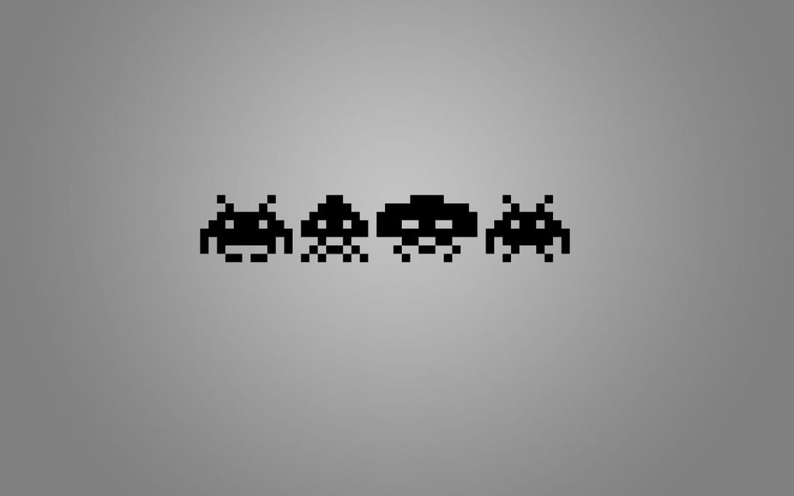 minimalistic Space Invaders wallpaper