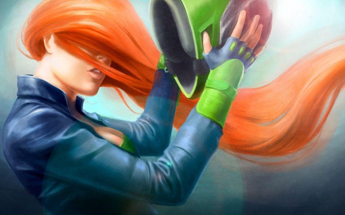 women artwork helmets orange hair wallpaper